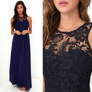 276809707896 Lulu's Oak and Elm Formal Dress in Navy Blue XS